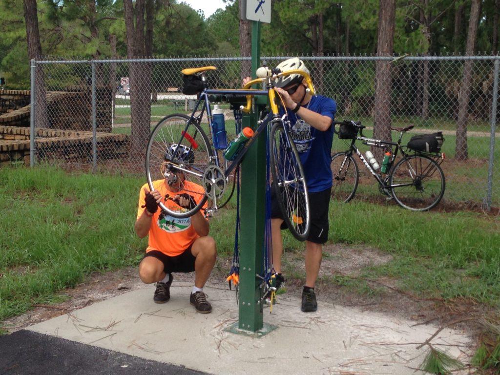 DuoGard Bike Repair Station in use